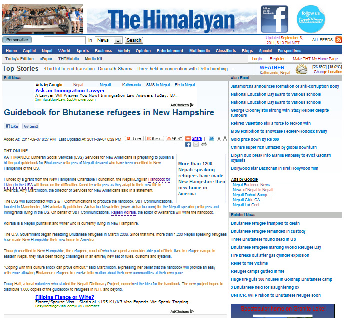 Guidebook for Bhutanese refugees in New Hampshire